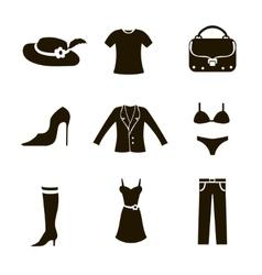 Clothes icon set woman vector