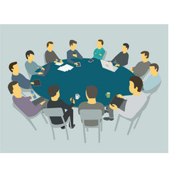round big table talks team business people vector image vector image