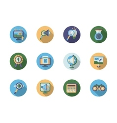 Search optimization flat color icons vector image vector image