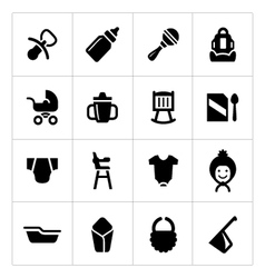 Set icons of newborn baby vector image