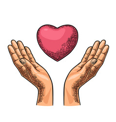 heart in open female human palms black vector image vector image