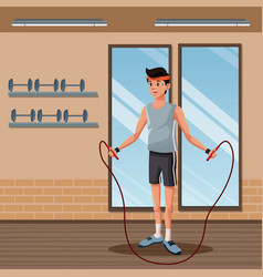 man sports jump rope training gym workout vector image vector image