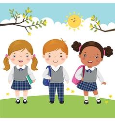 Three kids in school uniform going to school vector image vector image
