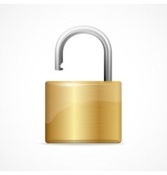 unlocked padlock gold vector image vector image