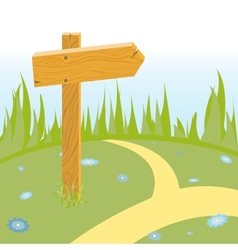 wooden arrow on the road vector image vector image