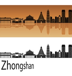 Zhongshan skyline in orange vector image vector image