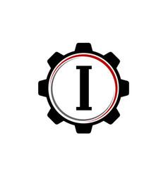 gear solution logo letter i vector image