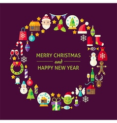Merry Christmas New Year Holiday Flat Design Icons vector image vector image