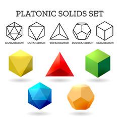 platonic 3d shapes vector image