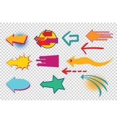 set isolated arrows pop art retro vector image vector image