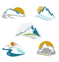 Blue mountains emblem set vector image