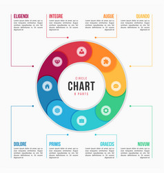 circle chart infographic template with 8 parts vector image vector image