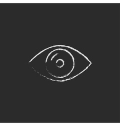Eye icon drawn in chalk vector image