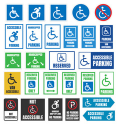 handicapped parking signs disabled people parking vector image
