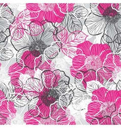 Seamless pattern with peony vector image