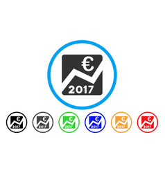 2017 euro chart rounded icon vector image