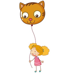 A smiling child holding a cat balloon vector