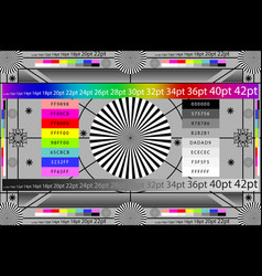 Adjusting camera lens test target colour chart tv vector