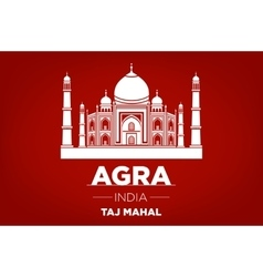 Agra taj mahal india red background vector