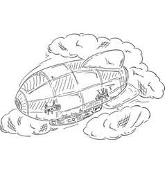 Airship at clouds vector
