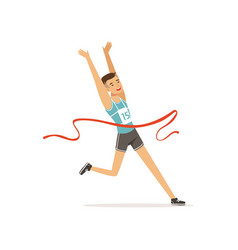 Athletic man taking part in running competition vector