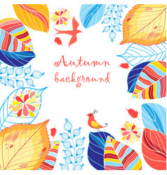 autumn multicolored background with leaves vector image