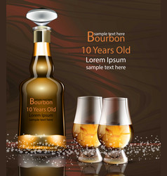 bourbon bottle and glasses realistic vector image