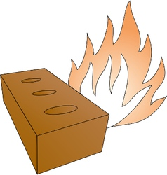 Brick and fireflames vector