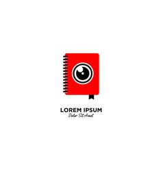 Camera book logo icon line outline monoline vector