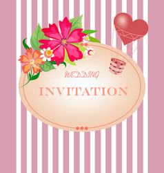card with striped background flowers and air hear vector image