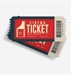 cinema ticket icon movie cardboard pair of vector image