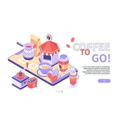 coffee to go - modern colorful isometric web vector image