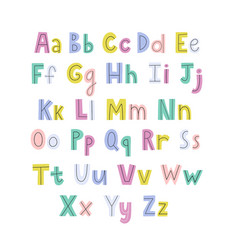 Colorful hand drawn alphabet with lowercase vector