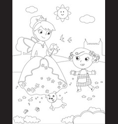 Coloring wizard of oz 07 dorothy and glinda vector