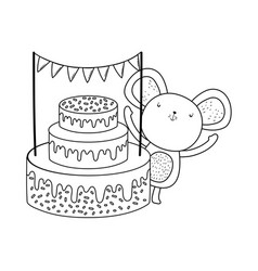 cute and little mouse with sweet cake vector image