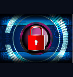 Cyber digital red padlock vector