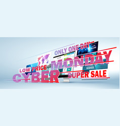 Cyber monday online sale web design concept vector