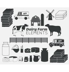 dairy farm elements vector image