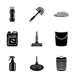 decoration of the bathroom icons set simple style vector image