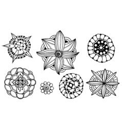 doodle floral set vector image