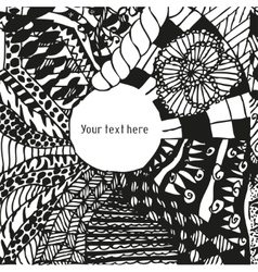 Doodling greeting card with hand drawn patterns vector image