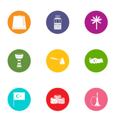 East end icons set flat style vector