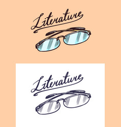 eyeglasses in vintage engraved style lettering vector image