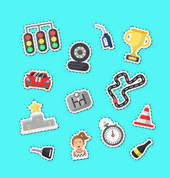 flat car racing icons stickers set vector image