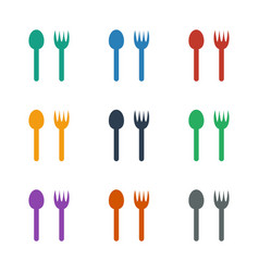 Fork and spoon icon white background vector