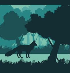 Fox in the jungle vector