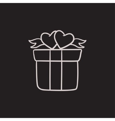 Gift box with hearts sketch icon vector image
