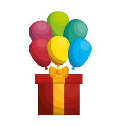 giftbox present with ballons air isolated icon vector image vector image