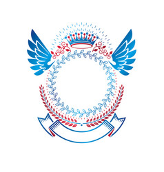 graphic winged emblem composed with royal crown vector image
