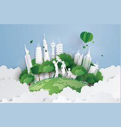 green city with family vector image
